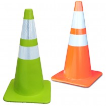 "Green & Orange Cones with a 6"" & 4"" Reflective Collars"