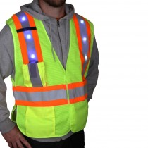 LED-V-X-YEL Class 2 Vest with LED Lights and X Reflective Back Yellow Front