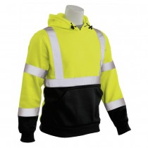 W376B ERB Safety Class 3 Hooded Pullover Sweat Shirt Lime Over Black