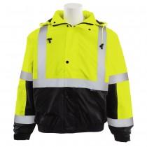 W106 ERB Safety Bomber Jacket  Lime Over Black